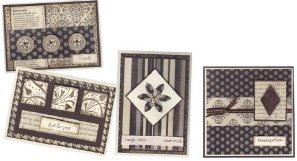 Ebony and ivory layered cards